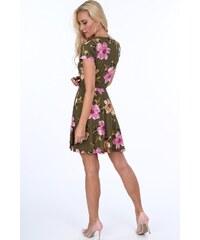 FASARDI Khaki kvetinové dámske šaty s dĺžkou nad kolená  XL d887fb6b80d
