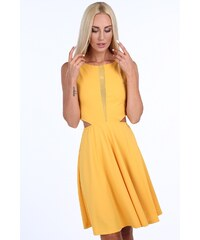 55587ce00441 FASARDI Žlté dámske šaty so šifónom  M
