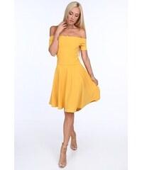 FASARDI Žlté dámske šaty so španielskym výstrihom  M 6f38d5d8942