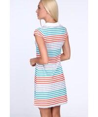FASARDI Oranžové dámske šaty s farebnými pruhmi  M 56fe654d7f4