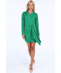 FASARDI Zelené krátke letné dámske šaty s dlhými rukávmi  XL 05632d7ac4d