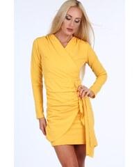 FASARDI Žlté krátke letné dámske šaty s dlhými rukávmi  S 9588d8ac27e