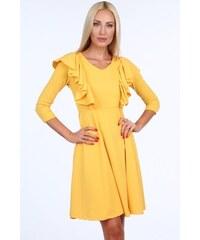 e42a1ddf5d61 FASARDI Žlté krátke dámske šaty s volánmi  L