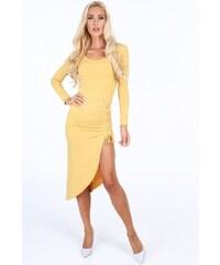 c465b09800a5 FASARDI Žlté šaty s ozdobným korzetovým viazaním na stehne  UNIW