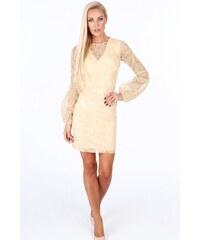 e627c511a615 FASARDI Zlaté dámske šaty s dlhými nafúknutými rukávmi  M