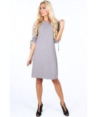 761d003ca1bb FASARDI Sivé elegantne dámske šaty s mašľami na rukávoch  S