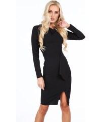 FASARDI Čierne elegantné šaty s dlhými rukávmi  M b591e798dc5