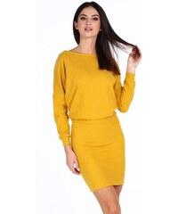 FASARDI Žlté elegantné šaty s výstrihom v tvare V na chrbte  M d74931f2c19