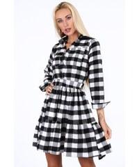 FASARDI Čierno-biele kockované dámske šaty  XL 8e58ecf48e4