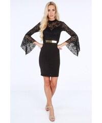 2cbc2d6a2659 Fasardi Černé elegantní šaty se stojatým límcem  UNIWA