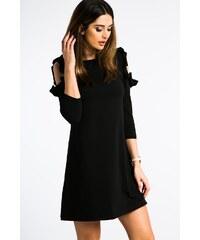 82f5cee62558 FASARDI Čierne šaty s výrezmi na pleciach a volánmi  S