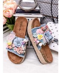 MODANOEMI Korkové denim modré pantofle s květinami Bello Star WS15-2M 5a6e73f77f