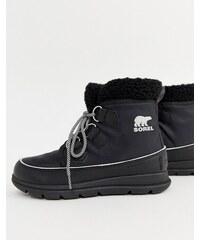 Sorel Explorer Carnival Waterproof Black Nylon Boots With Microfleece  Lining - Black 32614f06a0