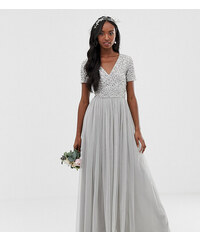 1c7683db951f Maya Tall Bridesmaid v neck maxi tulle dress with tonal delicate sequins in  soft grey -
