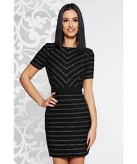 3b4cf8ebdc Fekete StarShinerS elegáns ruha rugalmatlan szövet belső béléssel deréktól  bővülő szabás rövid ujjú
