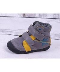 b068ec1bb01 Zimní boty D.D. step kožené barefoot 015-162 šedé s hvězdou