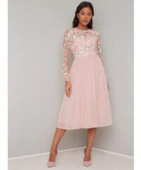 Růžové společenské šaty s výšivkou Chi Chi London Fatima 4094b87bb2