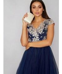 1ede0ba4258 Modré společenské šaty s vyšívaným živůtkem Chi Chi London Joan