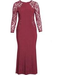ef1d36b0752 NoName Společenské šaty s krajkovými rukávy vínové nadměrné velikosti XL