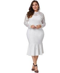 NoName Společenské šaty pro plnoštíhlé s krajkou bílé XL 29ebaf9f7c