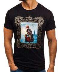 f5692e4270d4 Čierne pánske tričko s potlačou BOLF 181606-A