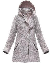 Jejmoda Dámsky asymetrický kabát MODA174 ružový 5d9657fd8c1