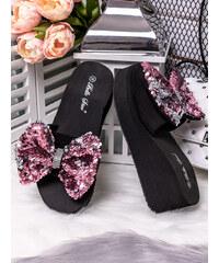 d6506c32e321 MODANOEMI Pohodlné růžové pantofle s růžovou mašlí Bello Star WS13-3R