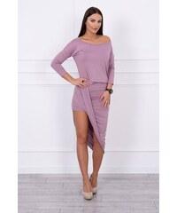 6652504692b2 MladaModa Asymetrické šaty s 3 4 rukávom svetlé fialové