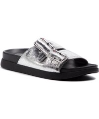 Šľapky TOMMY HILFIGER - Crackle Metallic Footbed Sandal FW0FW03805 Silver  000 f84cd3c89e4