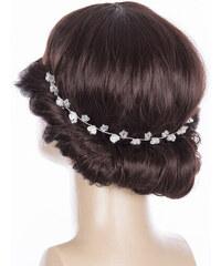 Fashion Icon Svatební ozdoba do vlasů - čelenka Stříbrné kytky perly cf43c597a0