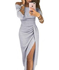 256c48d8eec0 Krátke metalické tulip strieborné šaty LC610566-11