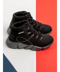 McKeylor Pohodlné kotníčkové boty dámské černé bez podpatku 496b568df27