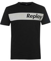 cd9028f1a9 Pánské triko Replay Block Stripe Černé