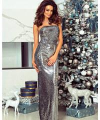 0565d2f067d4 PLANETA-MODY Flitrové spoločenské šaty Sophie - strieborné