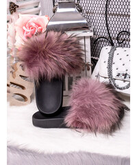 707049d51133 MODANOEMI Dámské růžové pantofle s pravou kožešinou KN1R