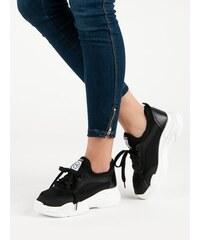 McKeylor Luxusní černé dámské tenisky na klínku 3991ca837c