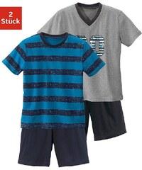 Shorty (2 Stück), Pyjama's in kurzer Form mit lässigem Druck und gedruckten Streifen