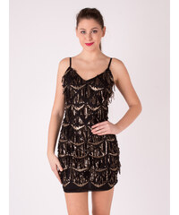 Created by K Čierne krátke šaty so zlatými flitrami 6062dc4e77c