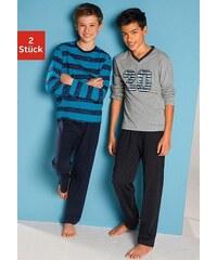 Pyjamas (2 Stück), mit lässigem Druck und gedruckten Streifen