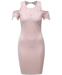 76bfd8fbf57 AX Paris světle růžové pouzdrové šaty s krajkou a průstřihy na ramenou M
