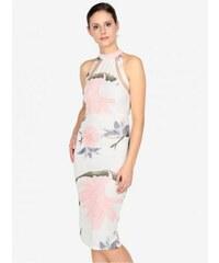 AX Paris krémové květované pouzdrové šaty s průstřihy na zádech L c2326e62d3