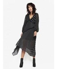 753769a320c Miss Selfridge černé puntíkované šaty s volány XS