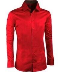 28dc68b91e2 Karminově červená pánská košile slim 100% bavlna non iron Assante 30391