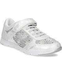 Mini B Stříbrné dívčí tenisky s kamínky 2e2abc1560