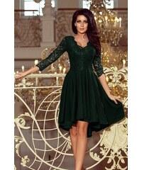 9520e20f6f3f Dámske šaty Numoco 210-3 s čipkou tmavozelené