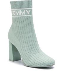 Členková obuv TOMMY JEANS - Knit Tommy Jeans Heeld Boot EN0EN00524 Frosty  Green 312 564ee08557d