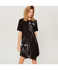 Mohito - Asymetrické šaty s potiskem - Černý 391e2ca4f5