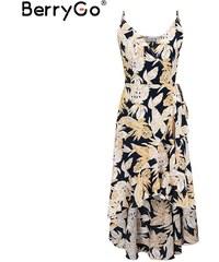 9dfc1e5aa7dc BerryGo Dlhé šaty s dlhšou zadnou časťou s motívom veľkých kvetov