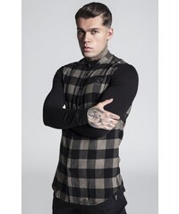 81da540b871c SIK SILK Pánske kárované khaki tričko s dlhým rukávom SikSilk Contrast  Tartan