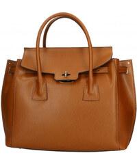 Kožená luxusní hnědá camel kabelka do ruky Liana VERA PELLE 26084 69c29bd2c70